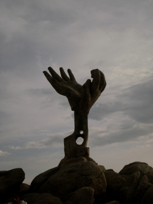 Hand sculpture at Zicatela beach